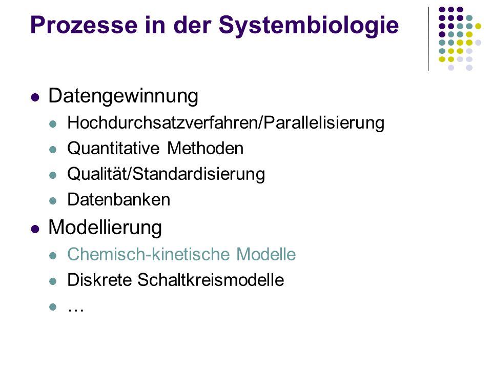 Prozesse in der Systembiologie