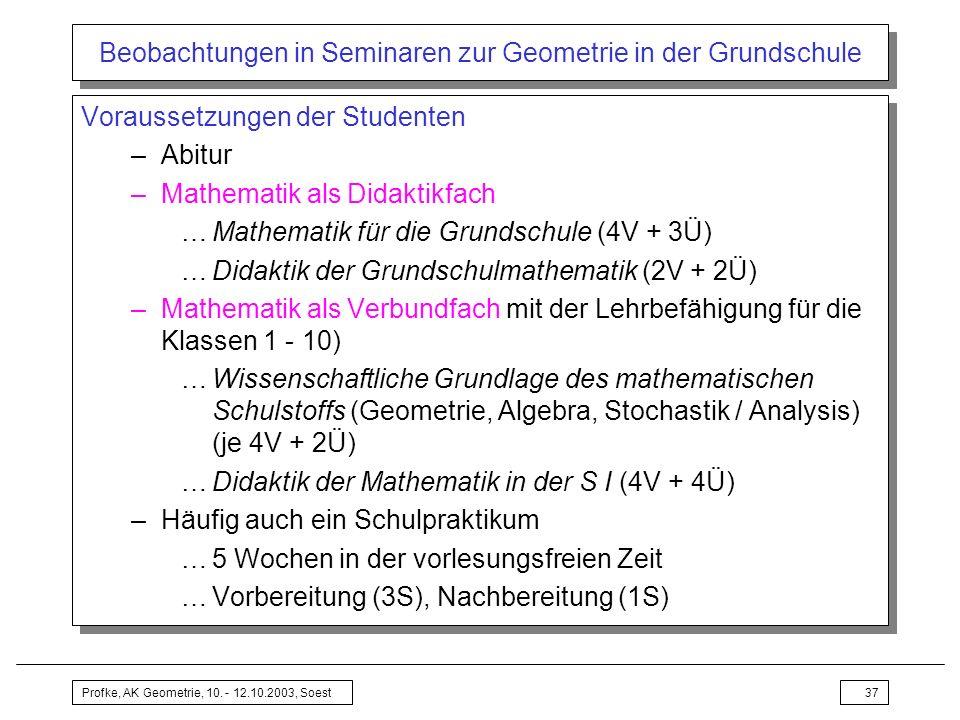 Beobachtungen in Seminaren zur Geometrie in der Grundschule