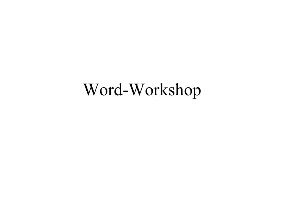 Word-Workshop