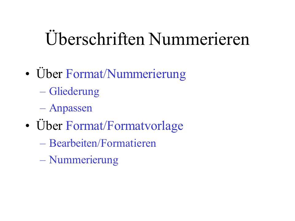 Überschriften Nummerieren