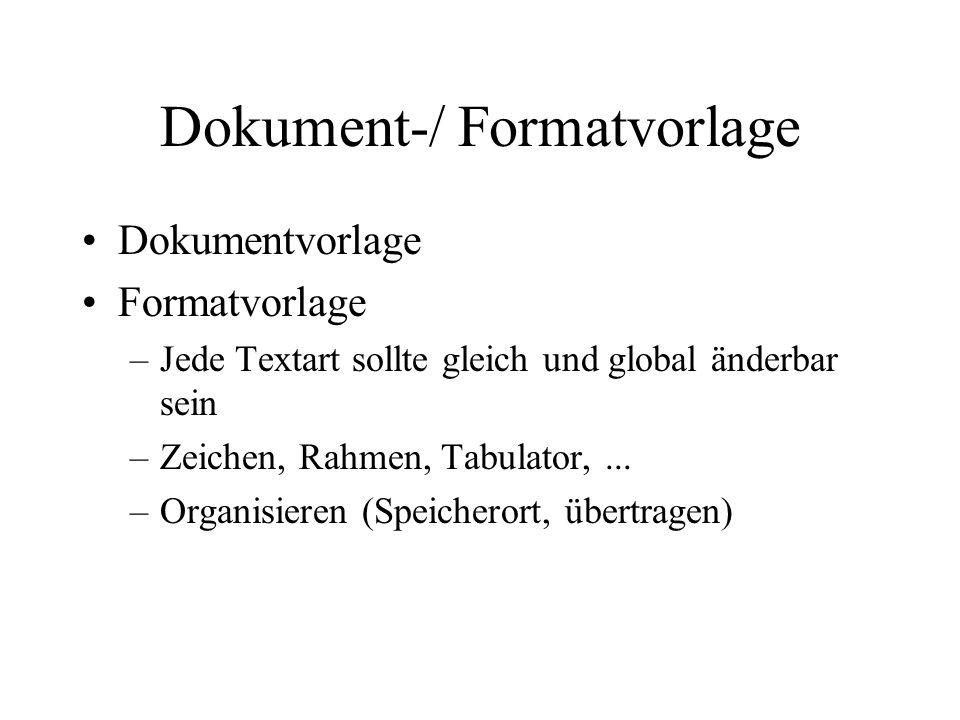 Dokument-/ Formatvorlage