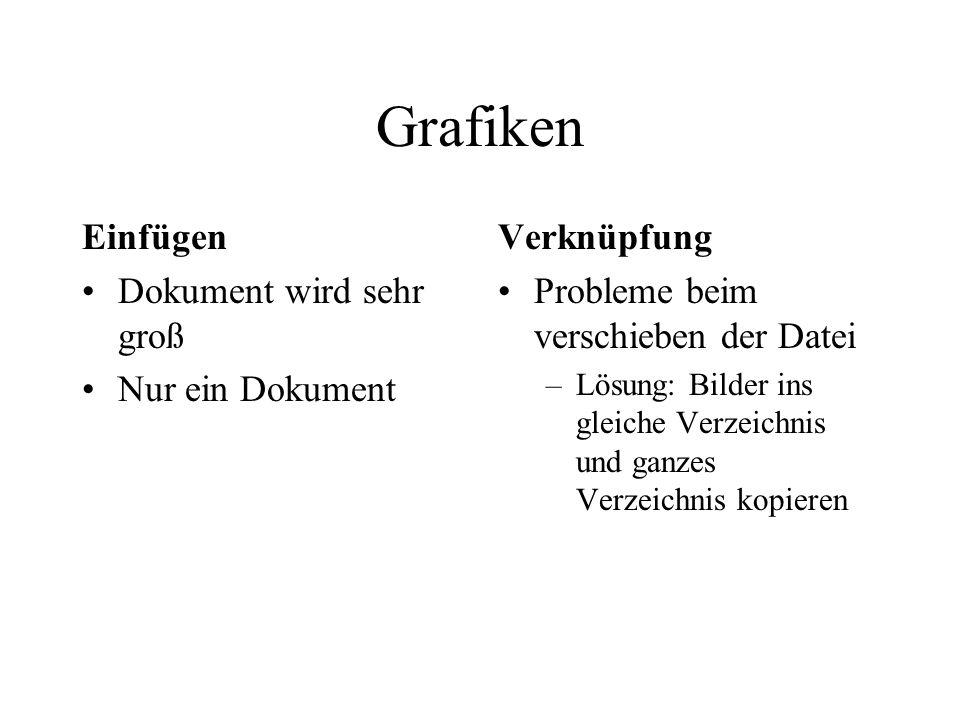 Grafiken Einfügen Dokument wird sehr groß Nur ein Dokument Verknüpfung