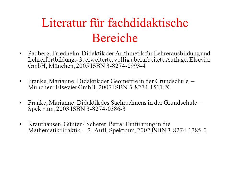 Literatur für fachdidaktische Bereiche