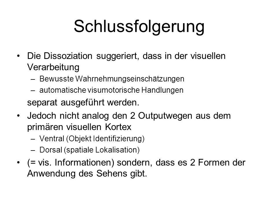 Schlussfolgerung Die Dissoziation suggeriert, dass in der visuellen Verarbeitung. Bewusste Wahrnehmungseinschätzungen.