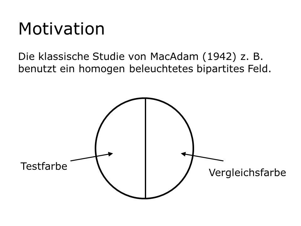 Motivation Die klassische Studie von MacAdam (1942) z. B. benutzt ein homogen beleuchtetes bipartites Feld.