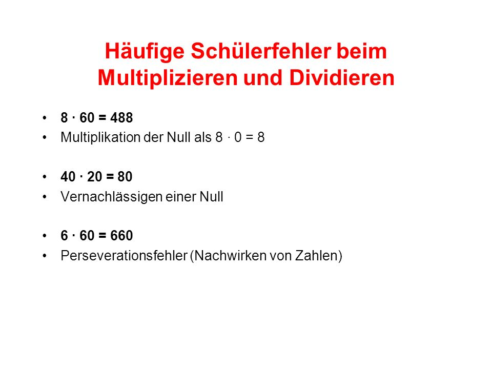 Häufige Schülerfehler beim Multiplizieren und Dividieren