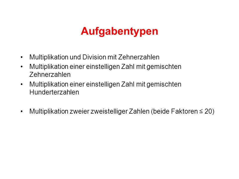 Aufgabentypen Multiplikation und Division mit Zehnerzahlen