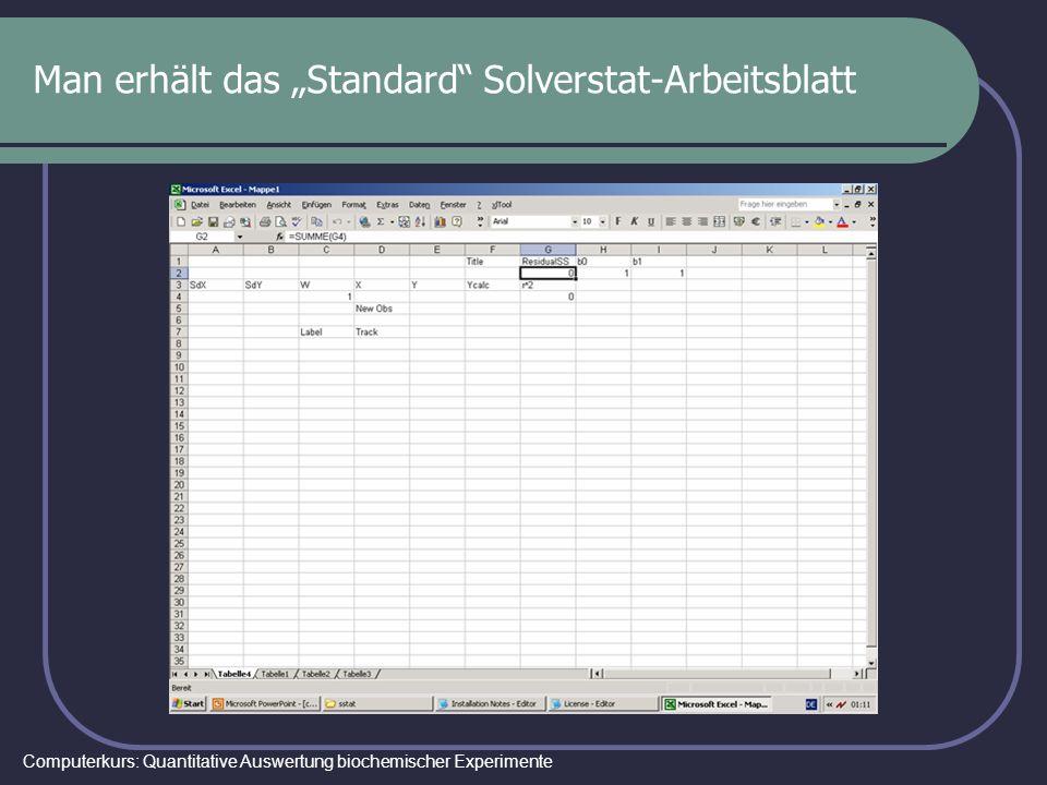 "Man erhält das ""Standard Solverstat-Arbeitsblatt"