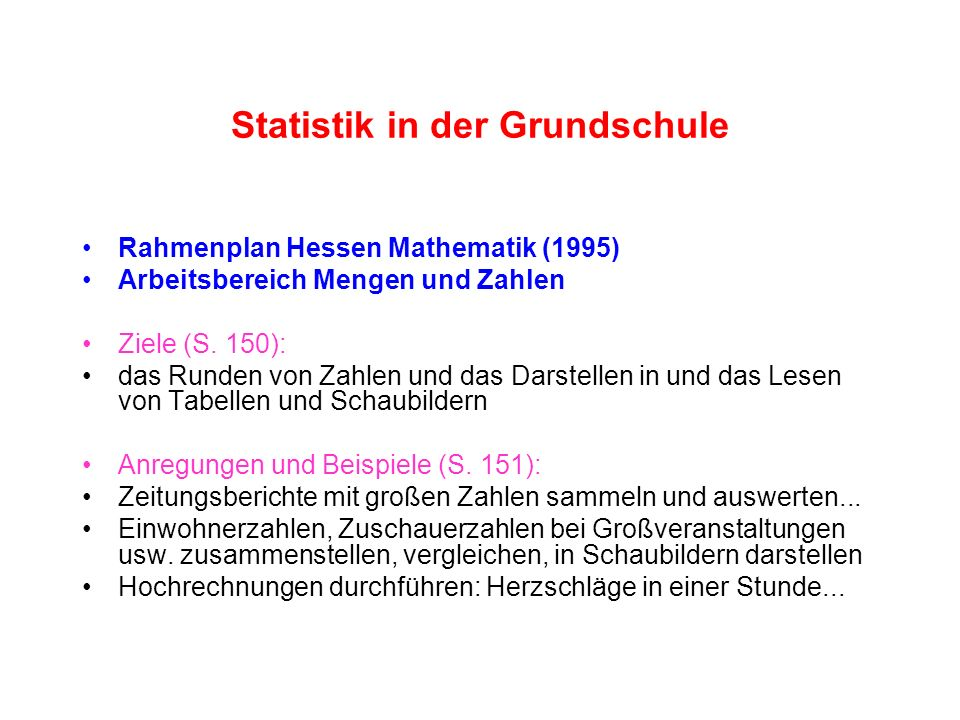 Statistik in der Grundschule