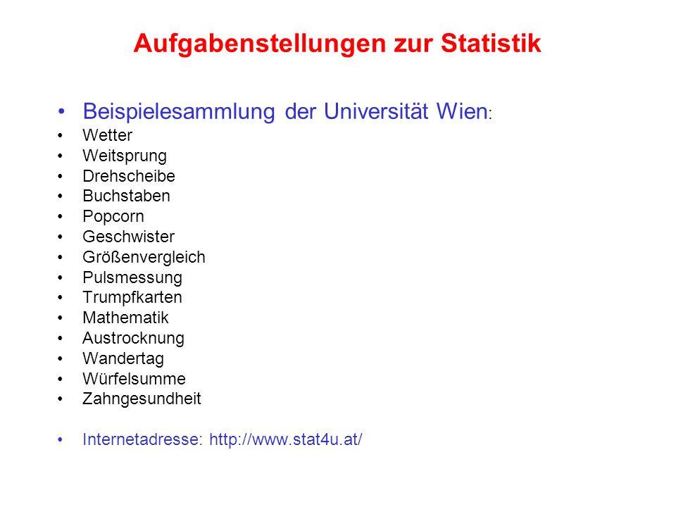 Aufgabenstellungen zur Statistik