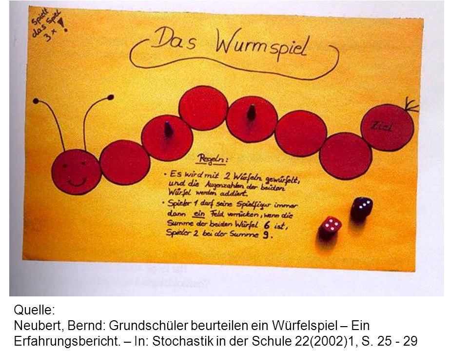 Quelle: Neubert, Bernd: Grundschüler beurteilen ein Würfelspiel – Ein Erfahrungsbericht.