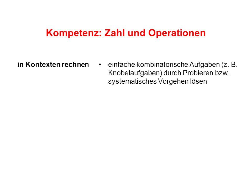 Kompetenz: Zahl und Operationen