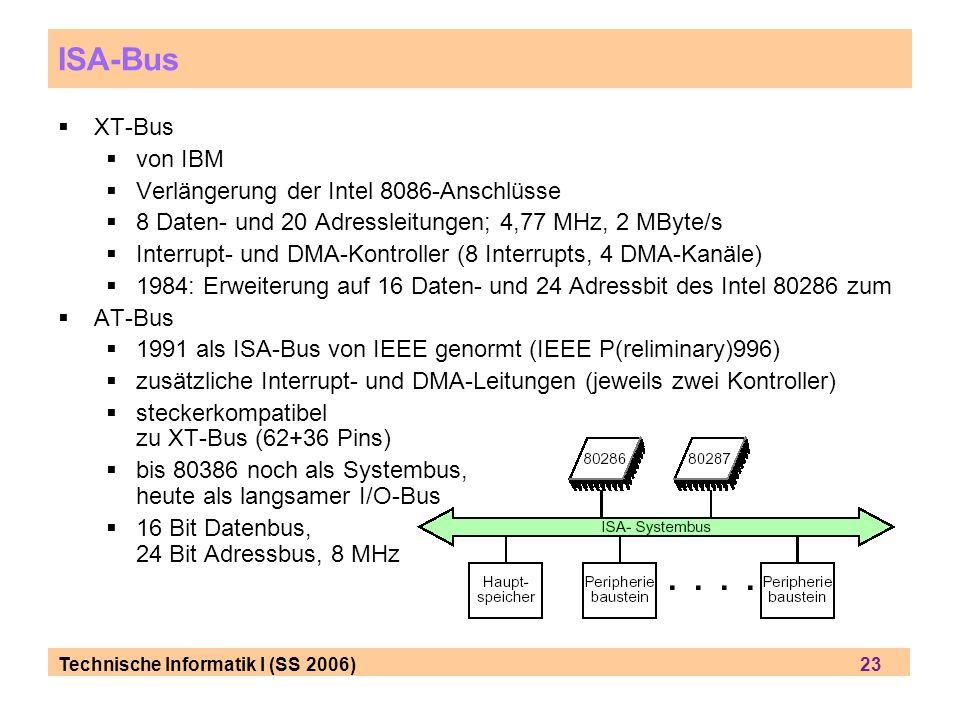 ISA-Bus XT-Bus von IBM Verlängerung der Intel 8086-Anschlüsse