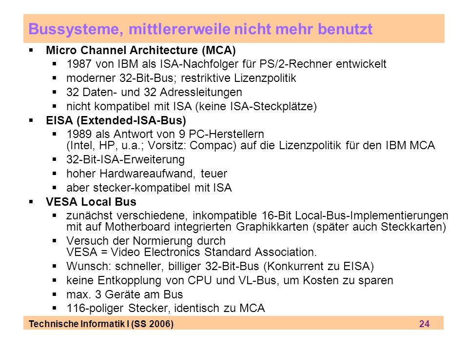 Bussysteme, mittlererweile nicht mehr benutzt