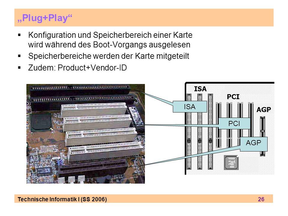 """""""Plug+Play Konfiguration und Speicherbereich einer Karte wird während des Boot-Vorgangs ausgelesen."""