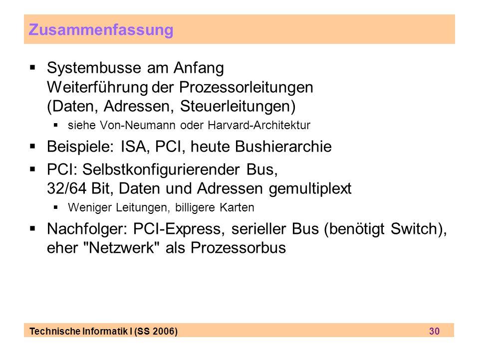 Beispiele: ISA, PCI, heute Bushierarchie