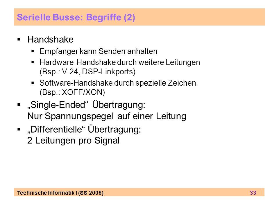 Serielle Busse: Begriffe (2)