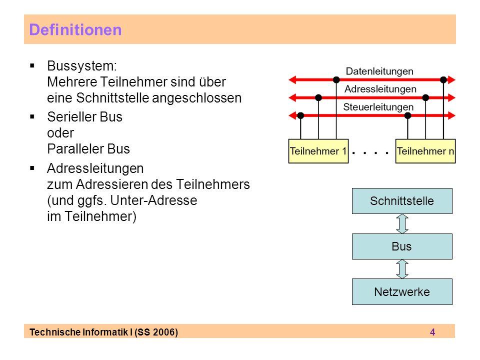 Definitionen Bussystem: Mehrere Teilnehmer sind über eine Schnittstelle angeschlossen. Serieller Bus oder Paralleler Bus.