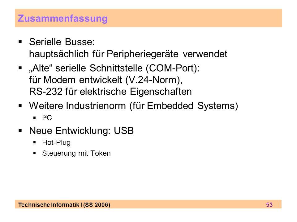 Serielle Busse: hauptsächlich für Peripheriegeräte verwendet