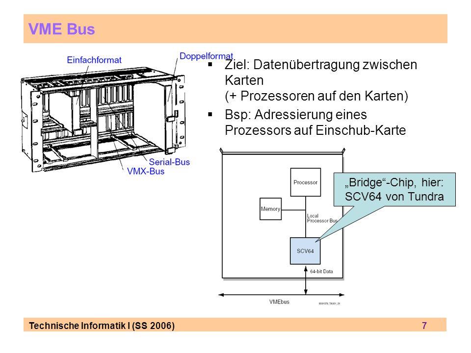 VME Bus Ziel: Datenübertragung zwischen Karten (+ Prozessoren auf den Karten) Bsp: Adressierung eines Prozessors auf Einschub-Karte.
