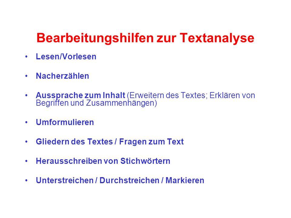 Bearbeitungshilfen zur Textanalyse