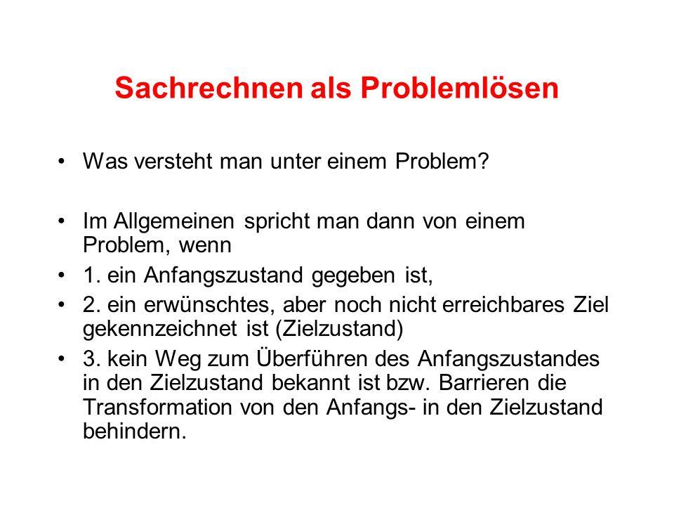 Sachrechnen als Problemlösen
