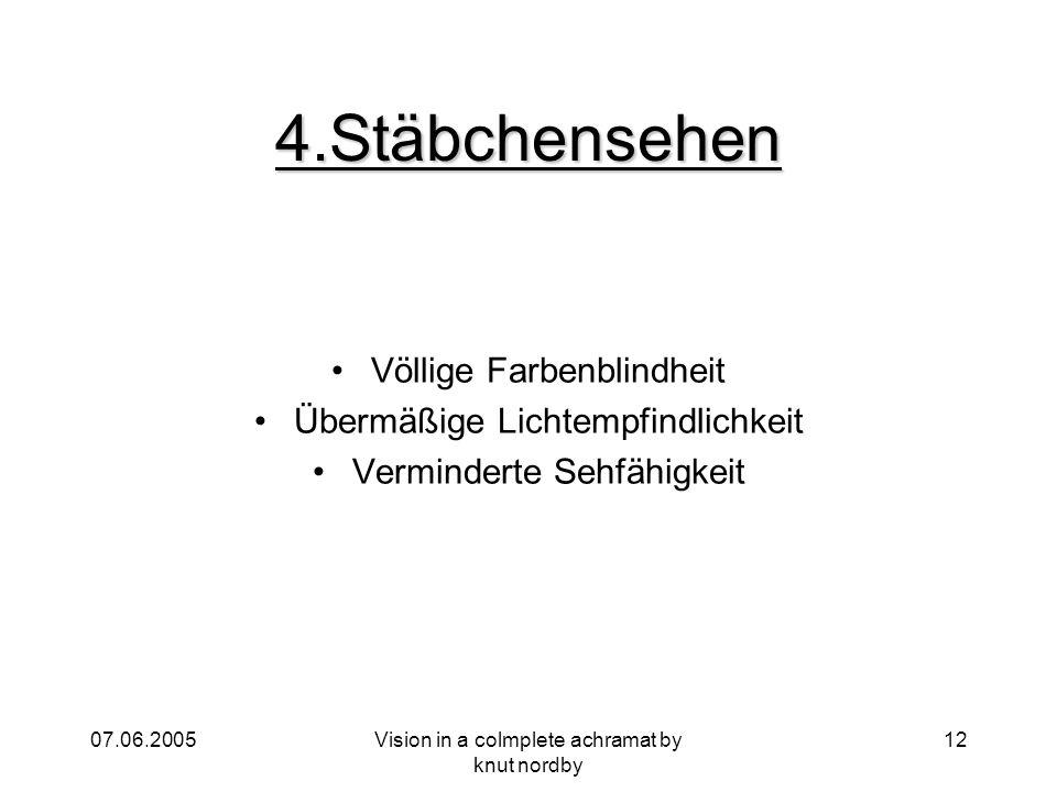 4.Stäbchensehen Völlige Farbenblindheit