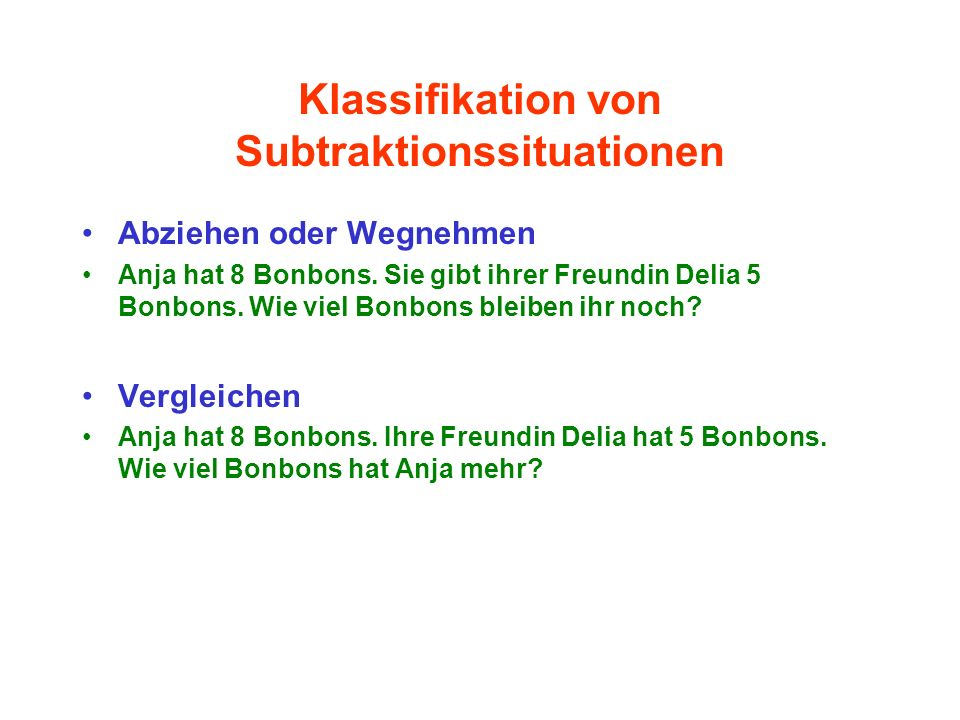 Klassifikation von Subtraktionssituationen