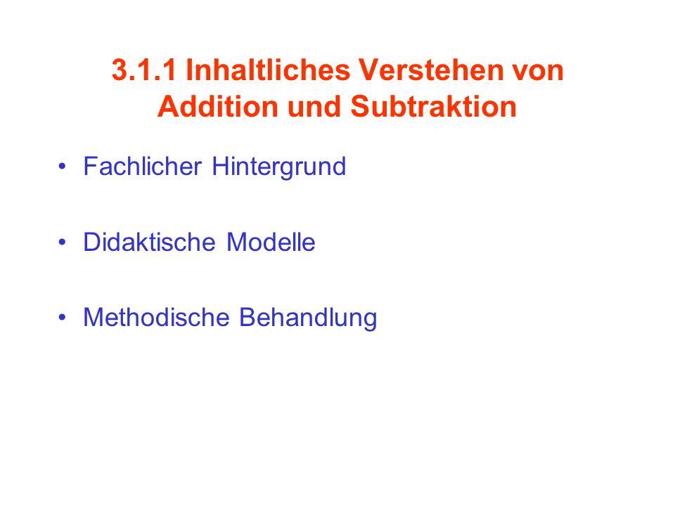 3.1.1 Inhaltliches Verstehen von Addition und Subtraktion