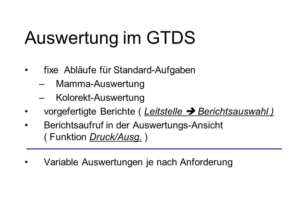 Auswertung im GTDS fixe Abläufe für Standard-Aufgaben Mamma-Auswertung