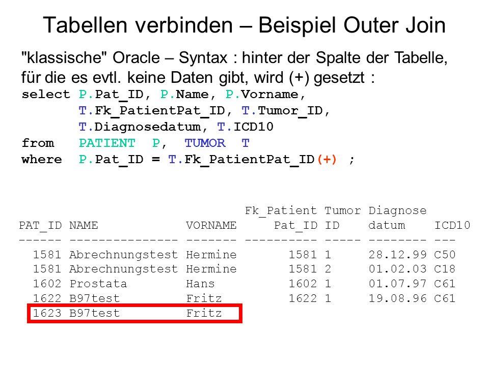 Tabellen verbinden – Beispiel Outer Join