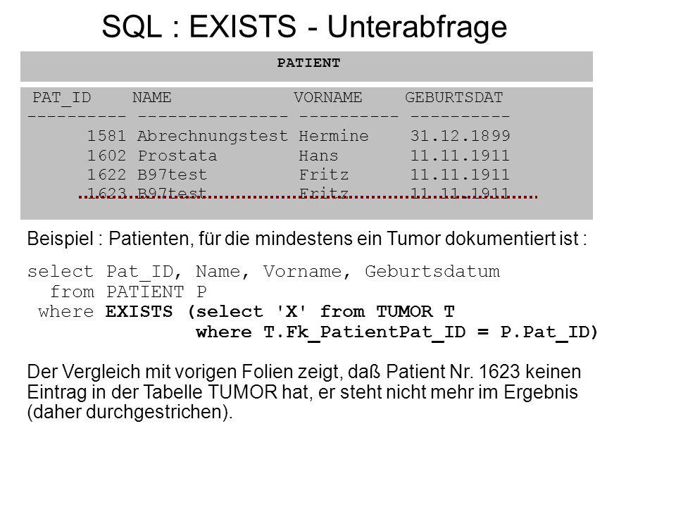 SQL : EXISTS - Unterabfrage