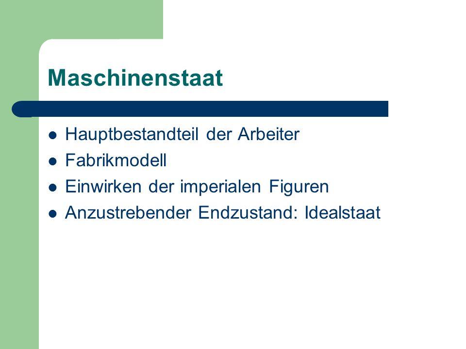 Maschinenstaat Hauptbestandteil der Arbeiter Fabrikmodell