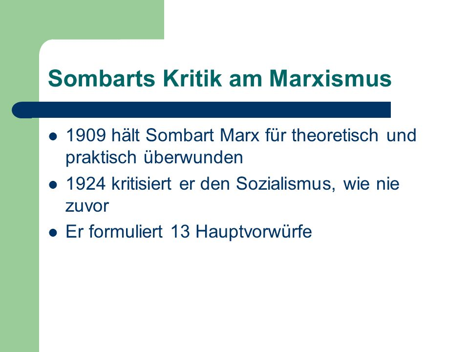 Sombarts Kritik am Marxismus