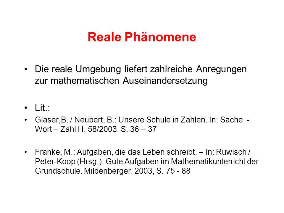 Reale Phänomene Die reale Umgebung liefert zahlreiche Anregungen zur mathematischen Auseinandersetzung.