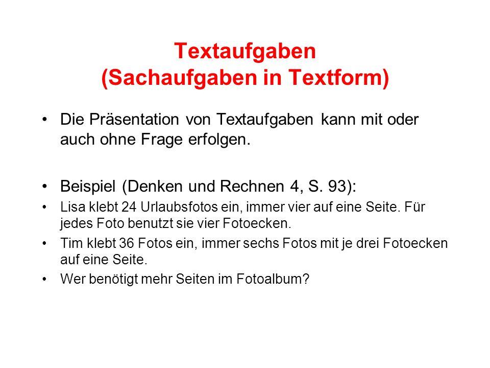 Textaufgaben (Sachaufgaben in Textform)