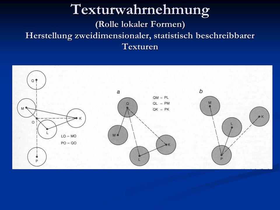 Texturwahrnehmung (Rolle lokaler Formen) Herstellung zweidimensionaler, statistisch beschreibbarer Texturen