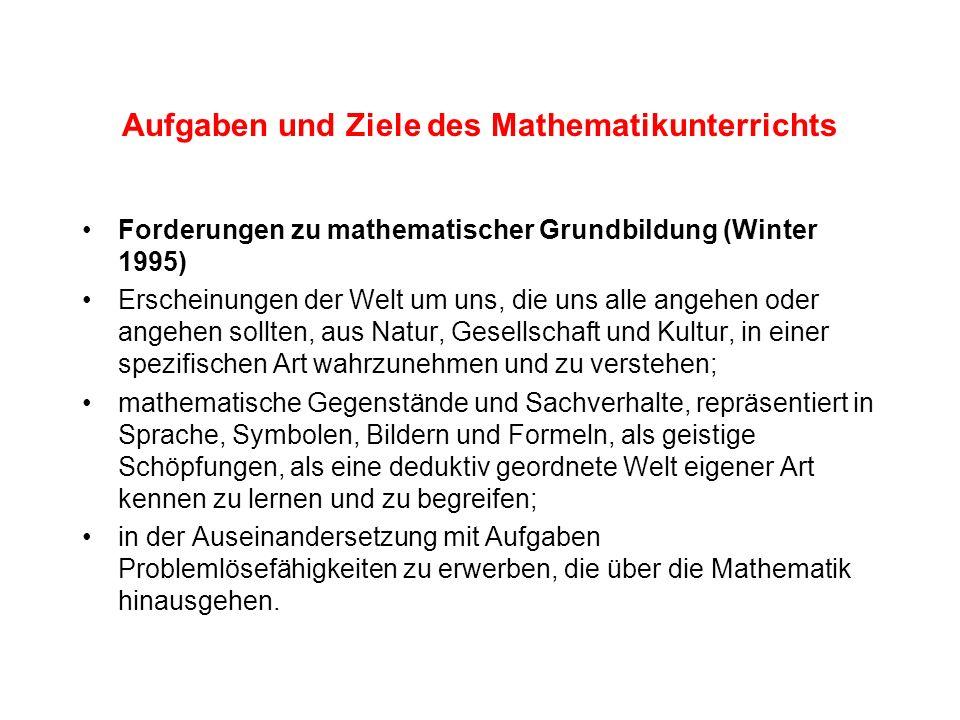 Aufgaben und Ziele des Mathematikunterrichts