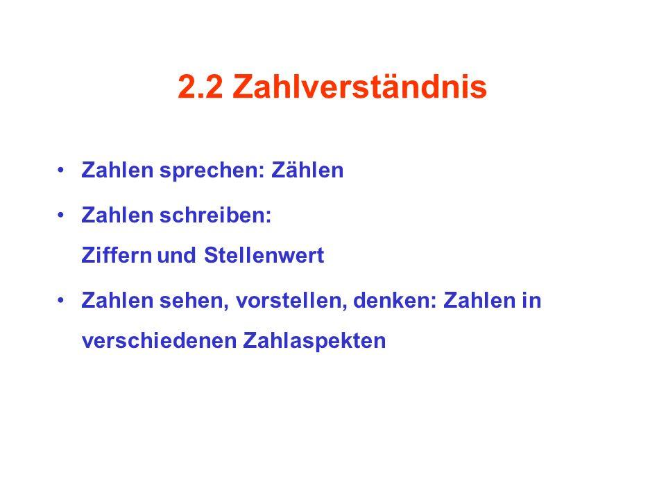 2.2 Zahlverständnis Zahlen sprechen: Zählen
