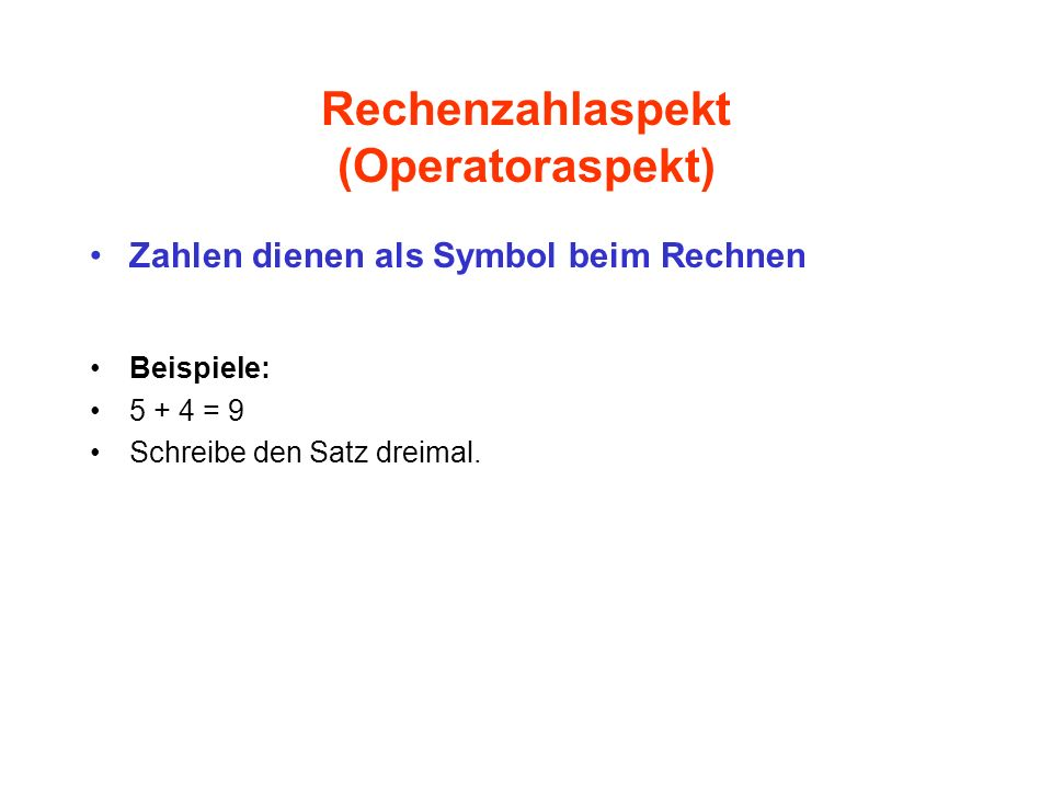 Rechenzahlaspekt (Operatoraspekt)