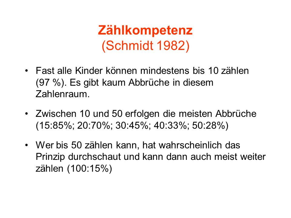 Zählkompetenz (Schmidt 1982)