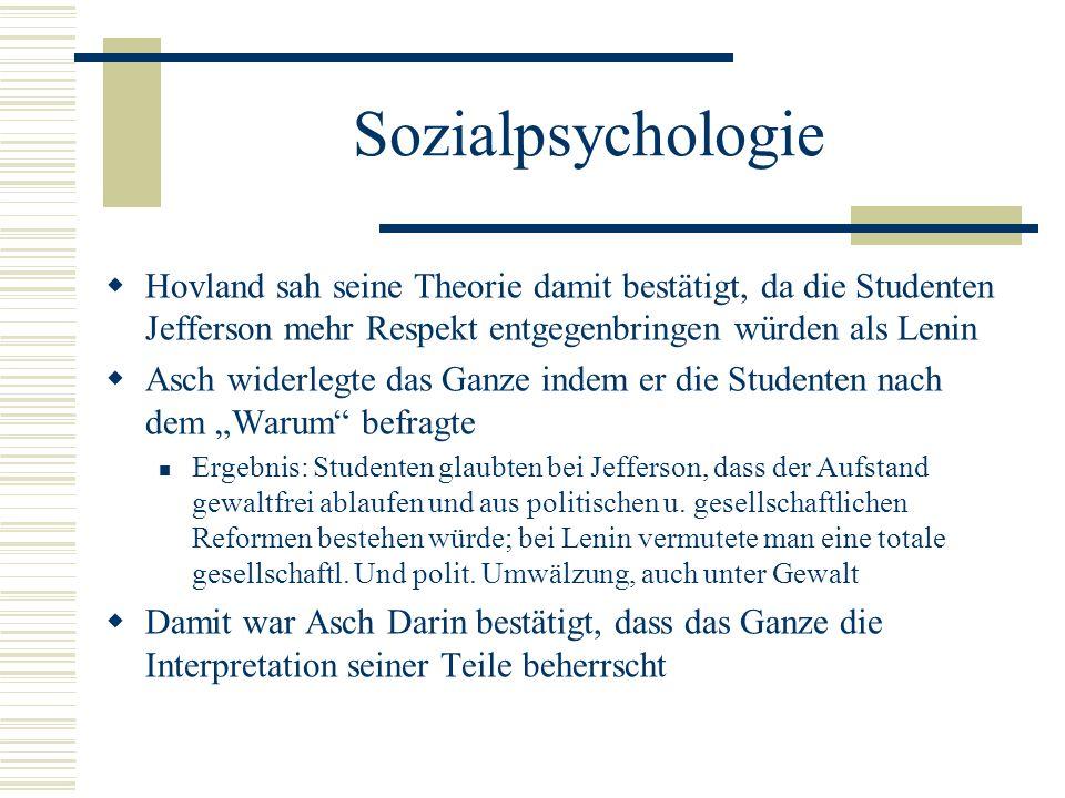 Sozialpsychologie Hovland sah seine Theorie damit bestätigt, da die Studenten Jefferson mehr Respekt entgegenbringen würden als Lenin.