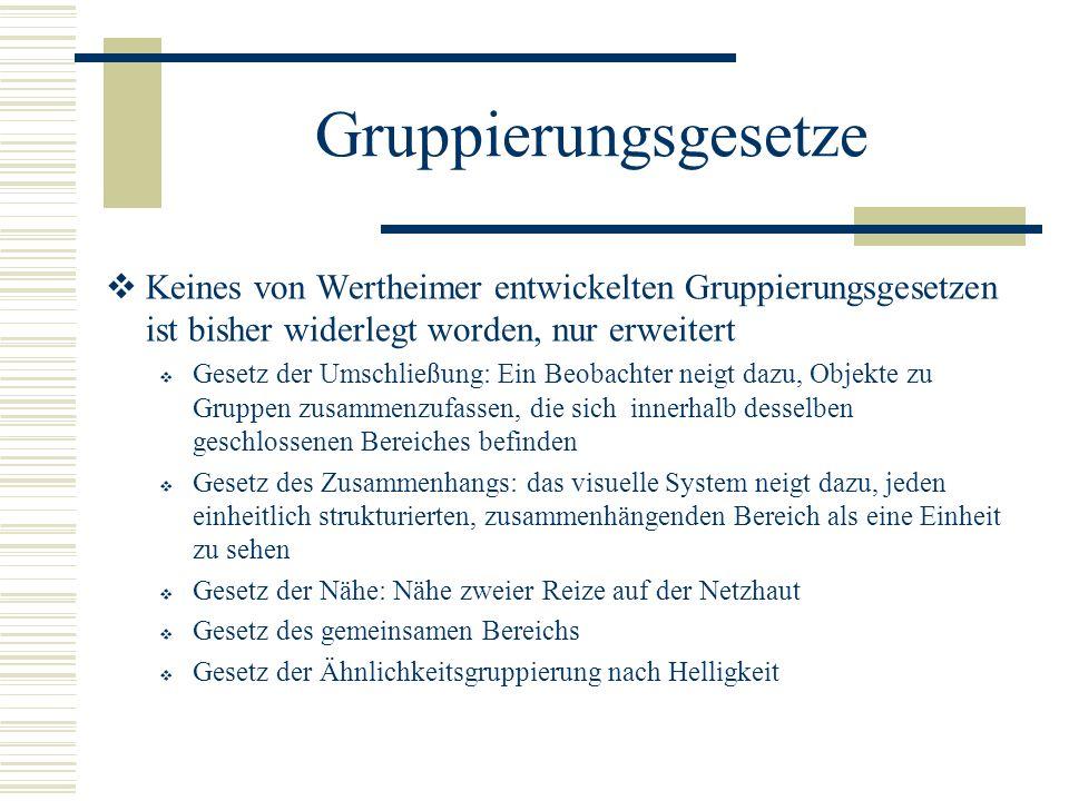 Gruppierungsgesetze Keines von Wertheimer entwickelten Gruppierungsgesetzen ist bisher widerlegt worden, nur erweitert.