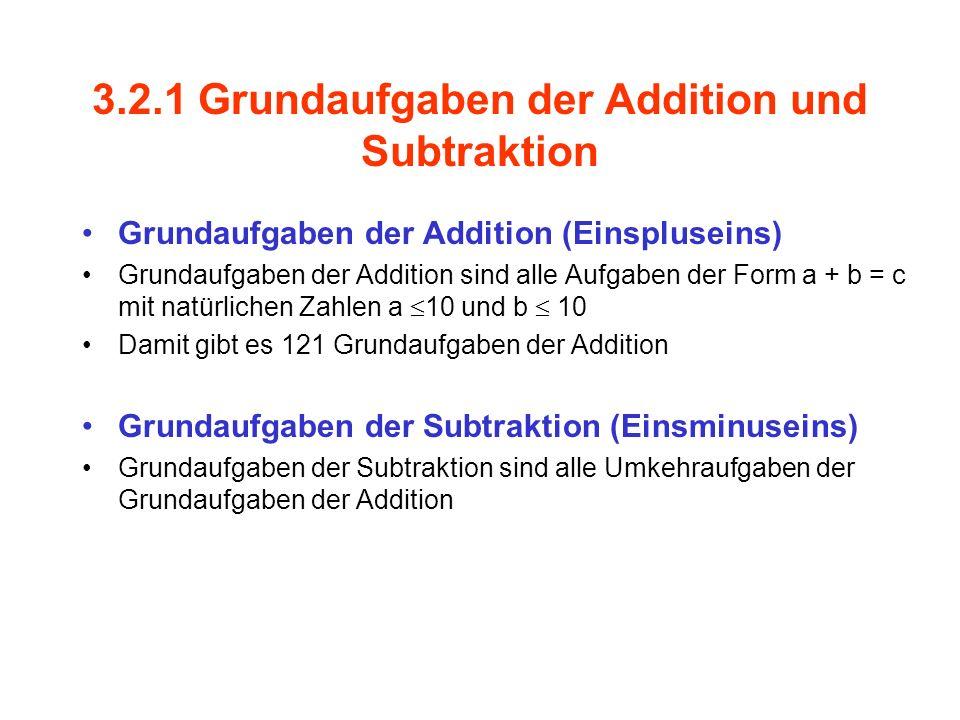 3.2.1 Grundaufgaben der Addition und Subtraktion