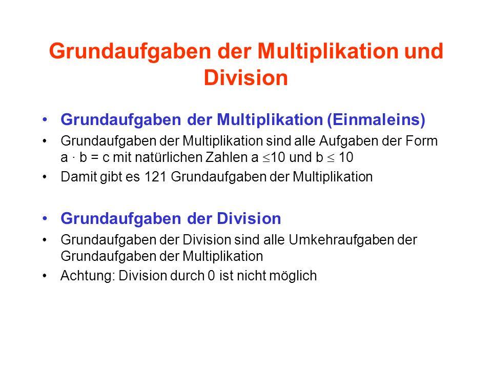 Grundaufgaben der Multiplikation und Division