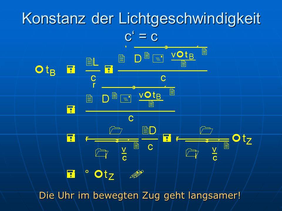 Konstanz der Lichtgeschwindigkeit c' = c