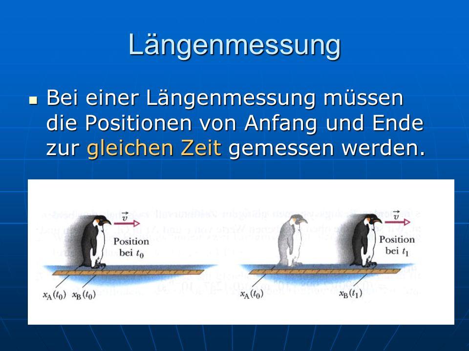 Längenmessung Bei einer Längenmessung müssen die Positionen von Anfang und Ende zur gleichen Zeit gemessen werden.