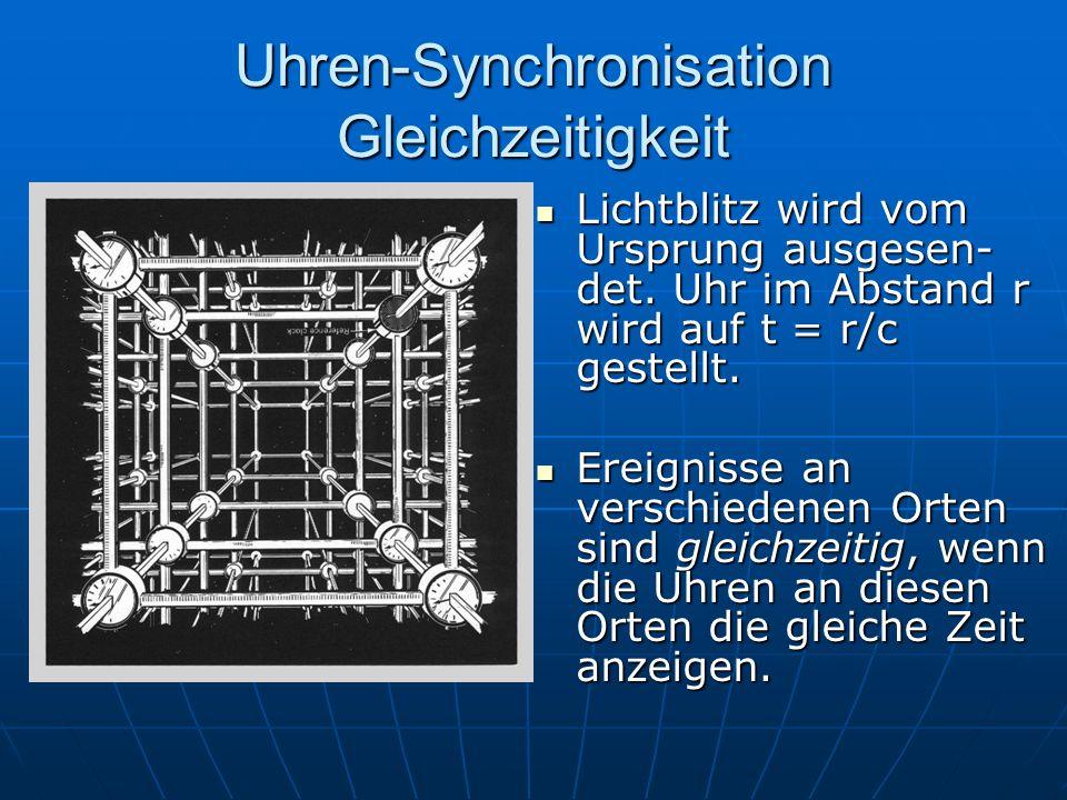Uhren-Synchronisation Gleichzeitigkeit