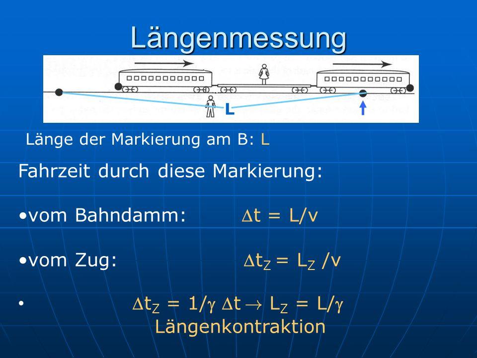 Längenmessung Fahrzeit durch diese Markierung: vom Bahndamm: t = L/v