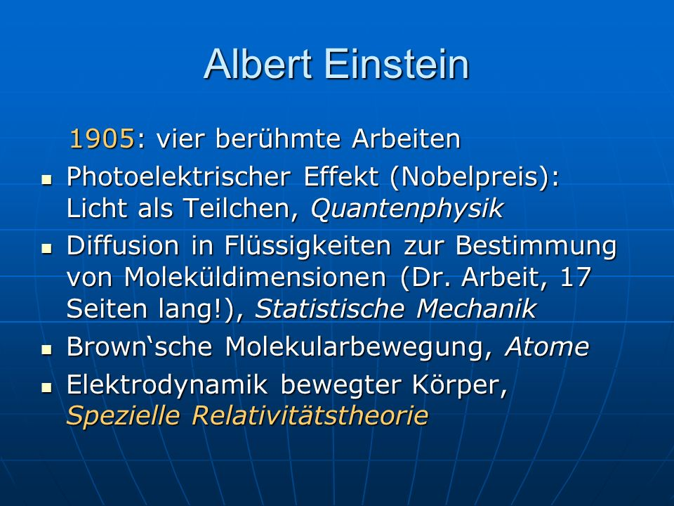 Albert Einstein 1905: vier berühmte Arbeiten